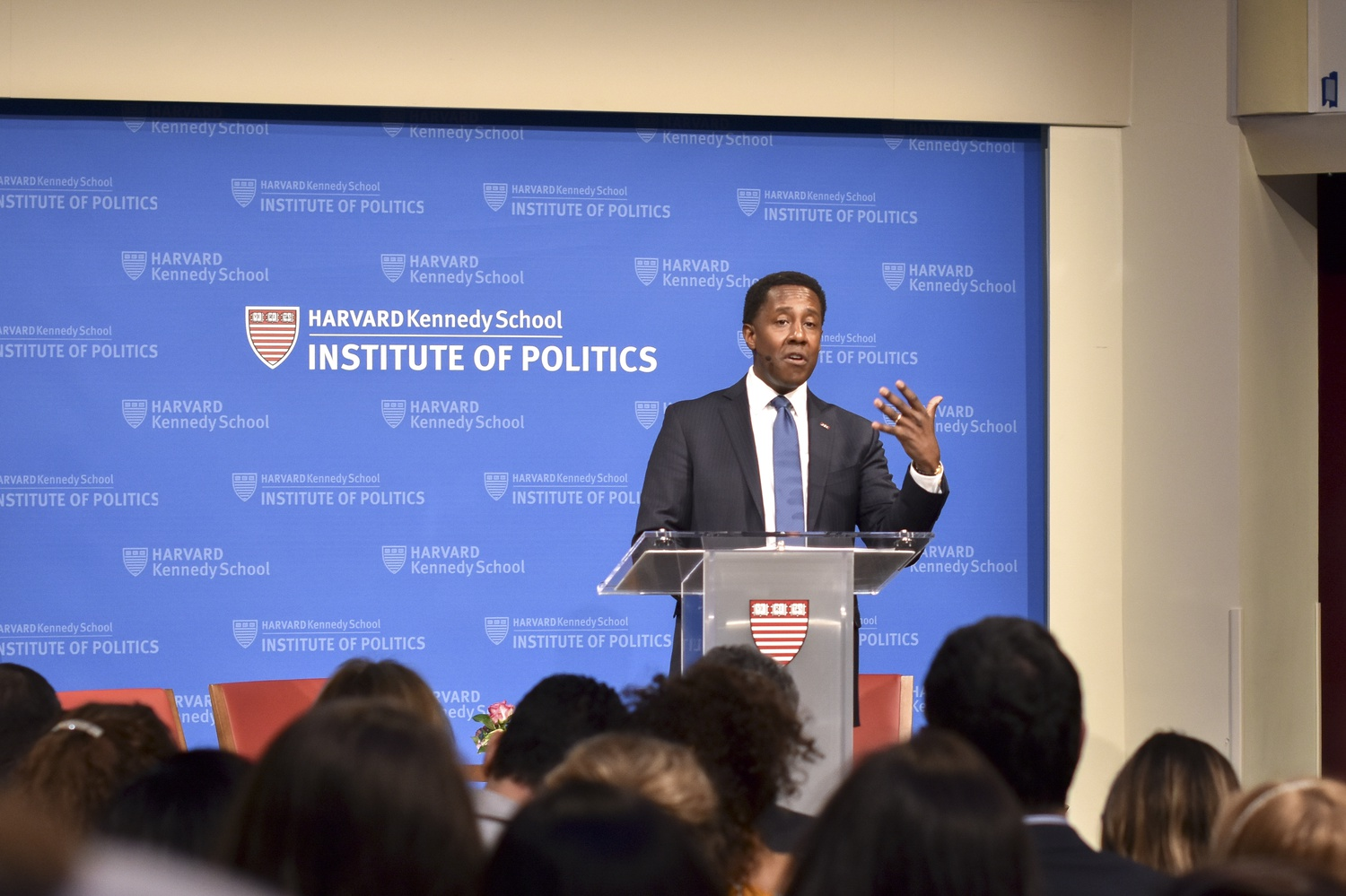 Setti Warren, executive director of the Shorenstein Center, presents nominees at the Goldsmith Awards Ceremony Tuesday. Each nominee received a round of applause for their reporting achievements.