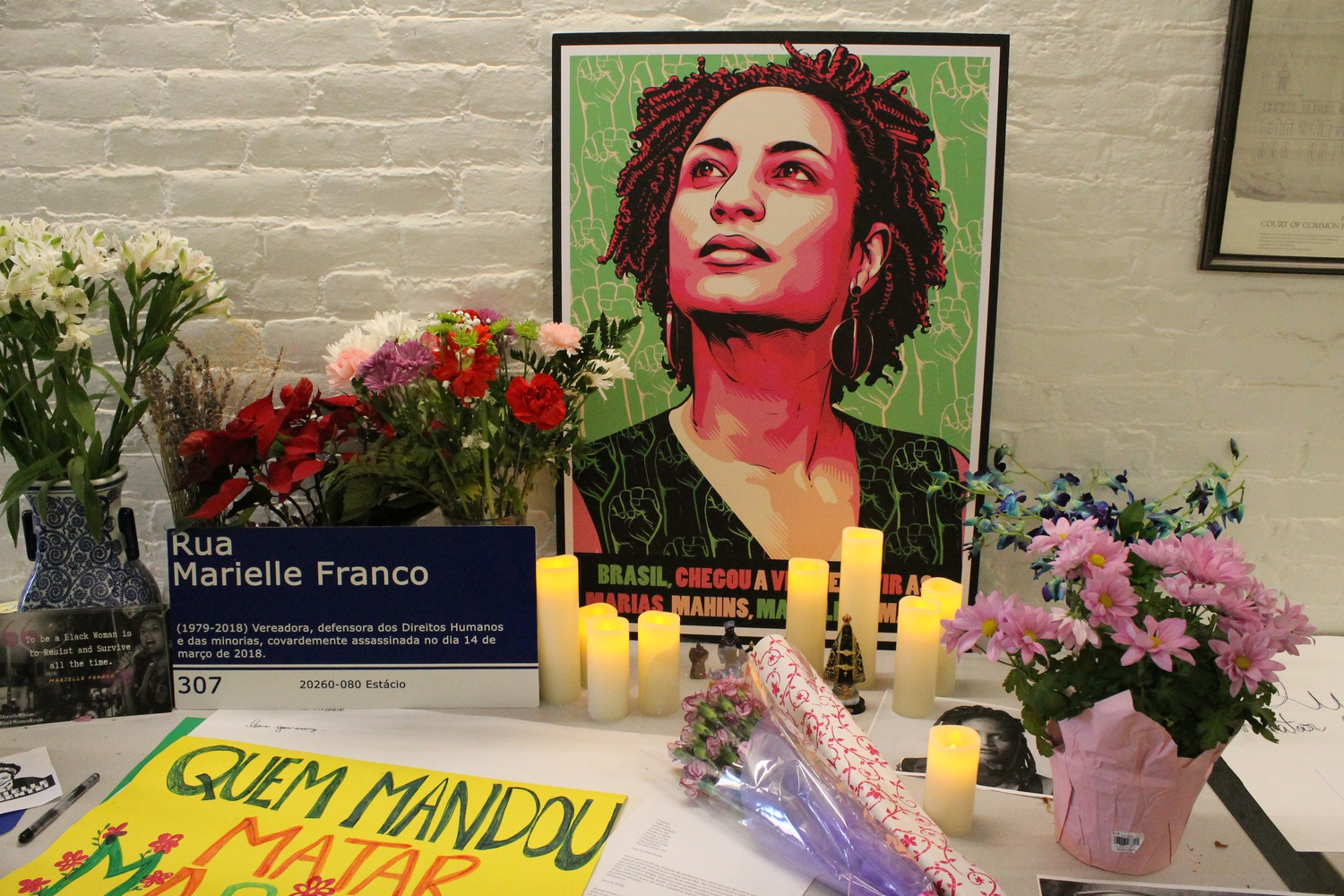 A memorial honors the one-year anniversary of Marielle Franco's killing in Brazil. Franco was a city councilor in Rio de Janeiro and an activist for women's and BGLTQ rights.