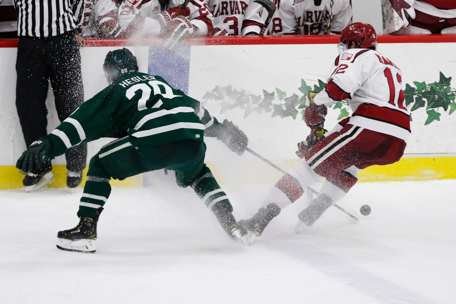 Harvard eliminated Dartmouth from the conference playoffs in straight games, not needed the third game in the best-of-three series to seal the deal.