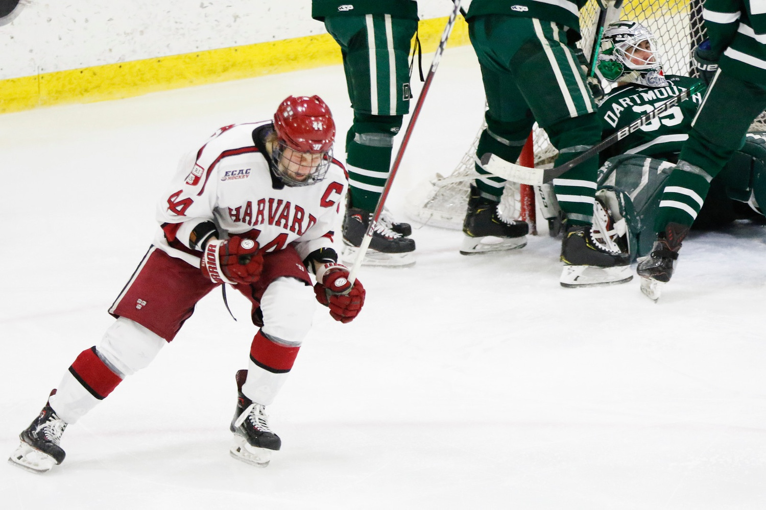 Co-captains Michael Floodstrand (pictured here) and Lewis Zerter-Gossage set examples on and off the ice this weekend in the Crimson's 2-0 series sweep of the Big Green.