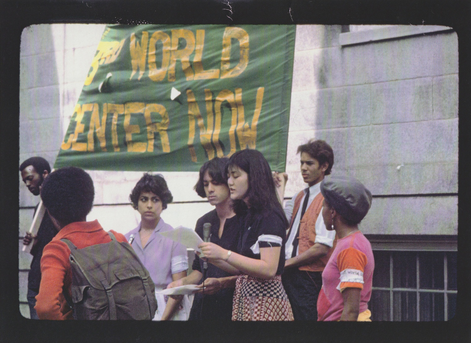 Picture from a Third World Center protest featuring Florence Houn '80.