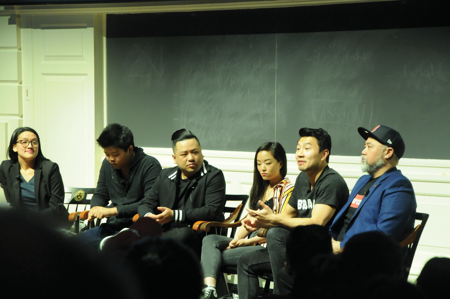 Paul Sun-Hyung Lee, Andrew Phung, Andrea Bang, Simu Liu, and Hudson Yang spoke about celebrating Asian identity at the Harvard Graduate School of Education on March 25.