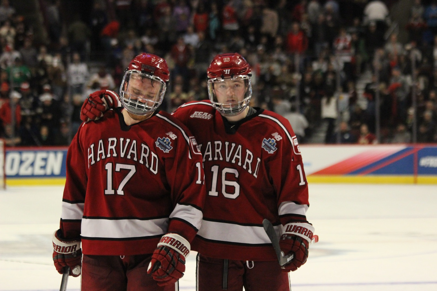 The last time the Crimson appeared in the NCAA Tournament, an impressive run ended in heartbreak. Then-sophomore Ryan Donato (right) and Sean Malone '17 (left), a senior at the time, were speechless after falling to Minnesota Duluth in 2017's Frozen Four.