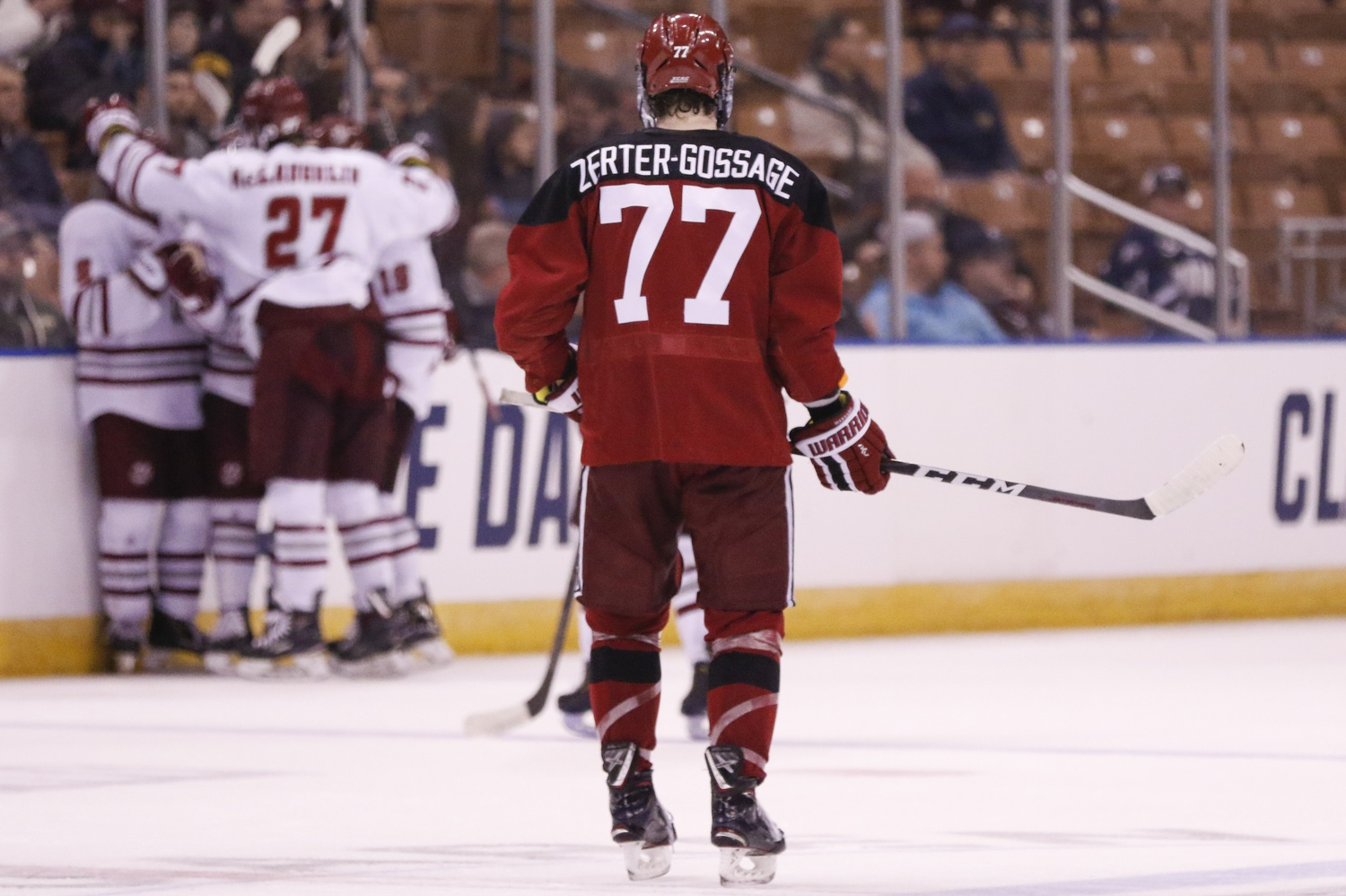 Following the third UMass goal, Harvard was left searching for answers but failed to respond, eventually falling 4-0.