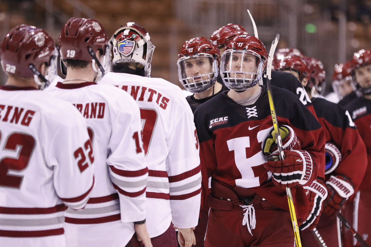 Junior defenseman Adam Fox (9–39—48) had a record season for the Crimson, leading the squad in points and assists.