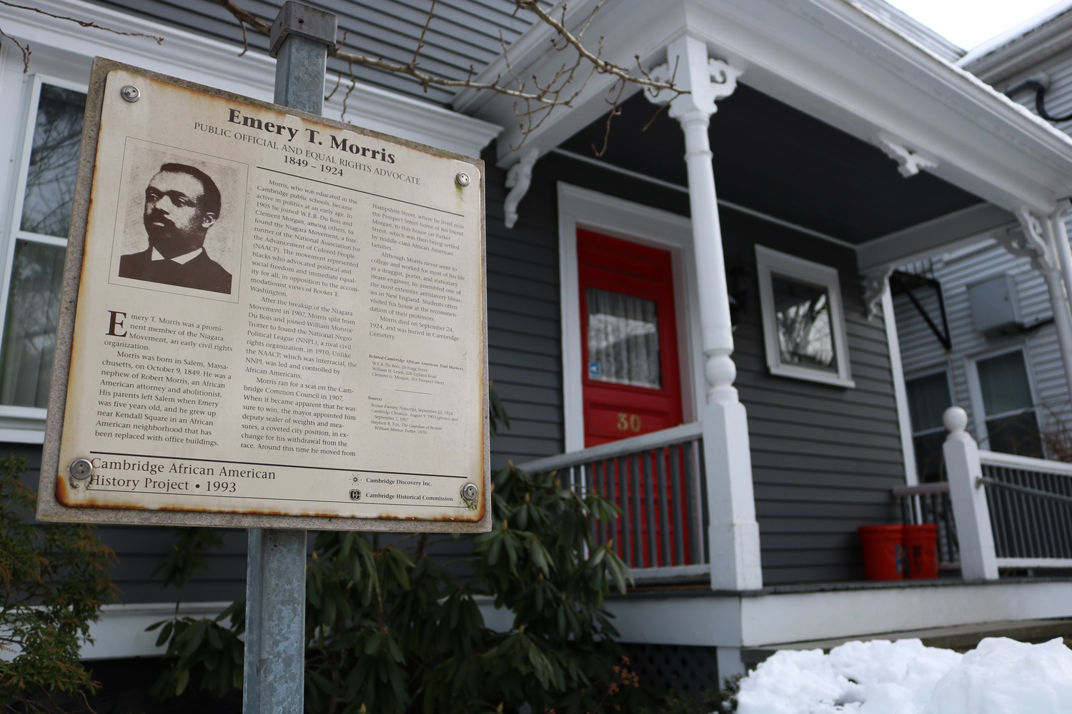 A renovated house near the Radcliffe Quadrangle was the headquarters of Emery T. Morris, who was an activist and leader in the Cambridge area.