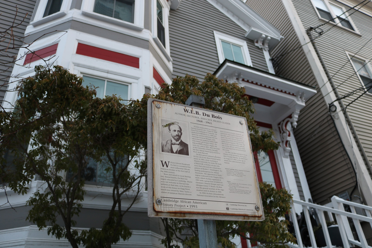 Located in Cambridge, MA is the home of W.E.B. Du Bois, a famed intellect and the first black recipient of a Harvard doctorate degree in History.