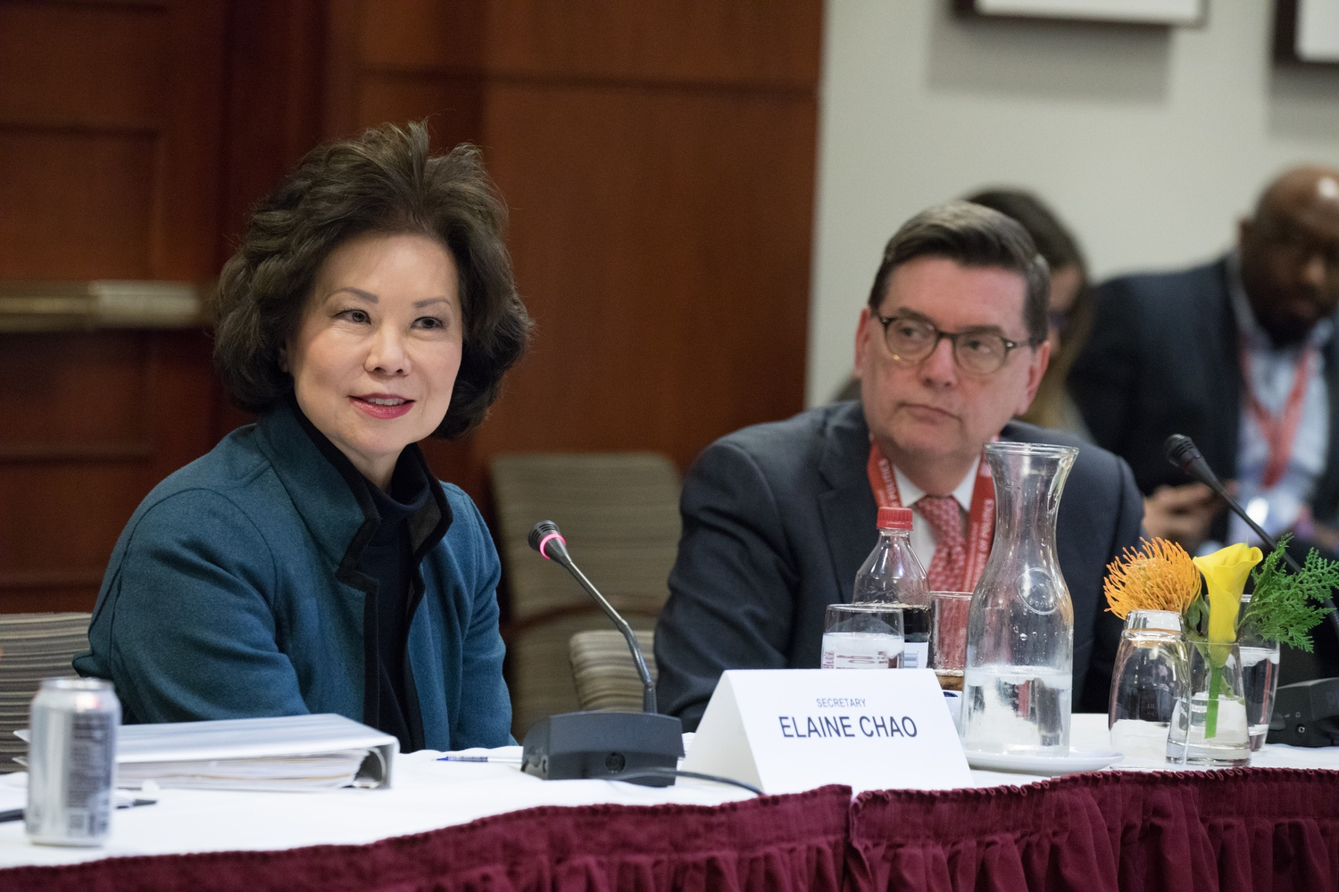 Secretary of Transportation Elaine L. Chao and IOP Director Mark D. Gearan '78 address new members of Congress on the first day of the bipartisan orientation program.