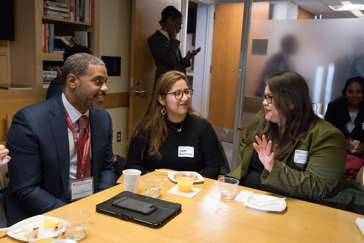 Steven A. Horsford (D-Nev.), who previously served in the House from 2013-2015, was unable to attend the 2012 orientation, but attended after his re-election last year. Above, he speaks to students over breakfast.