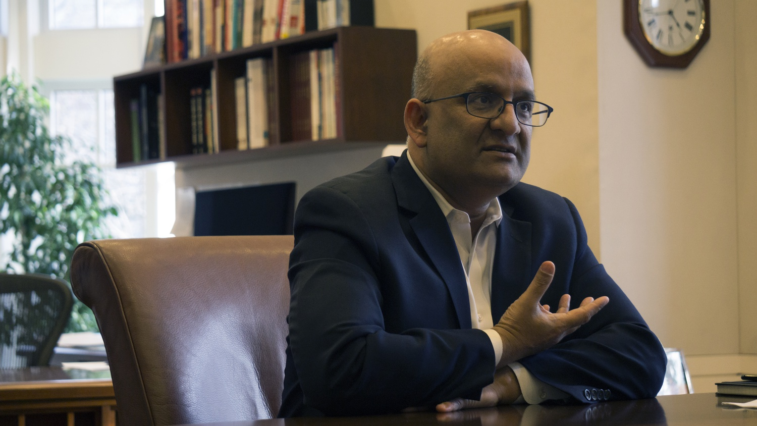 Harvard Business School Dean Nitin Nohria elaborates upon the Business School's goals in his office on Tuesday evening.