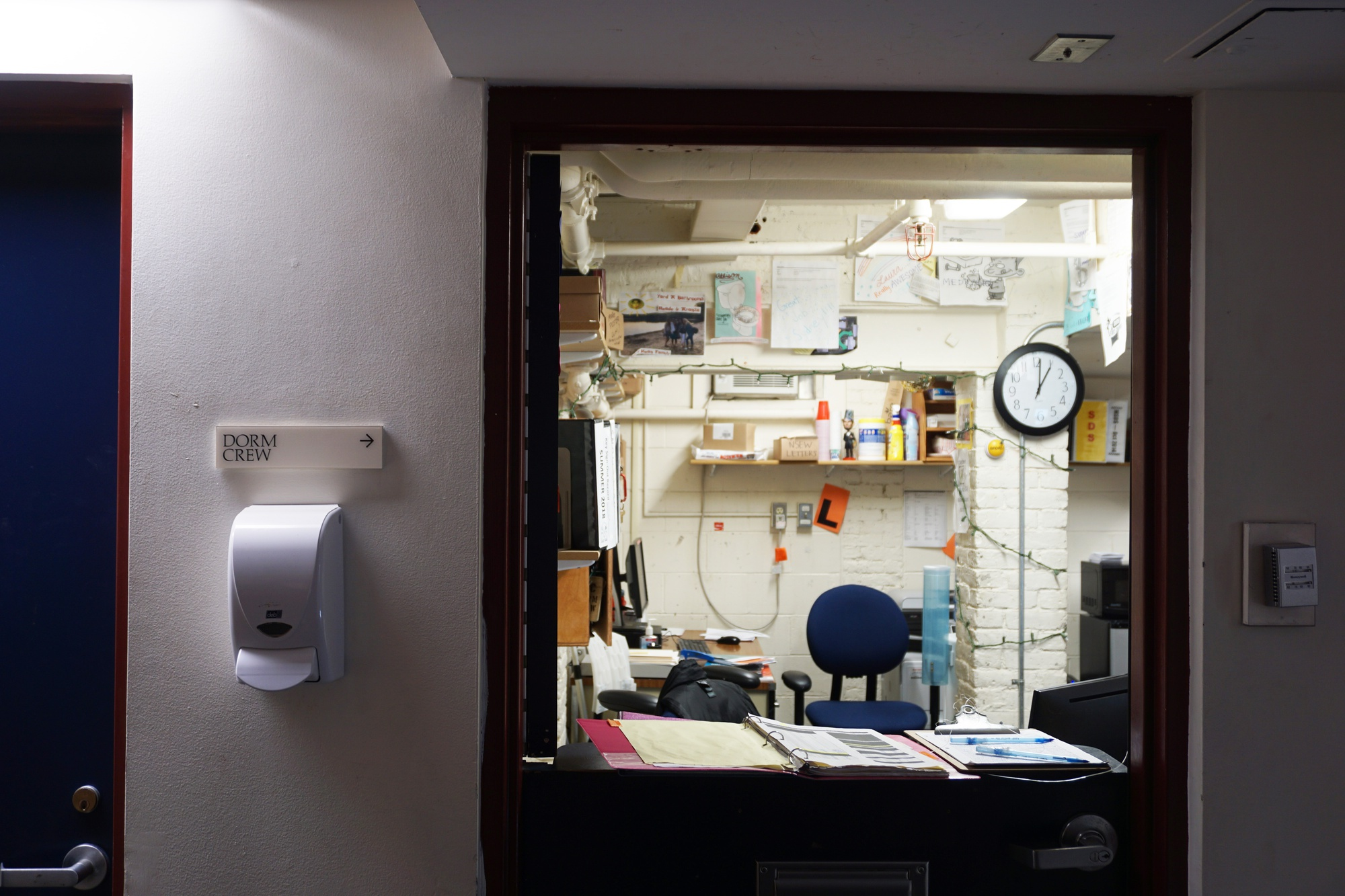 The Dorm Crew office is located in the basement of Weld Hall.