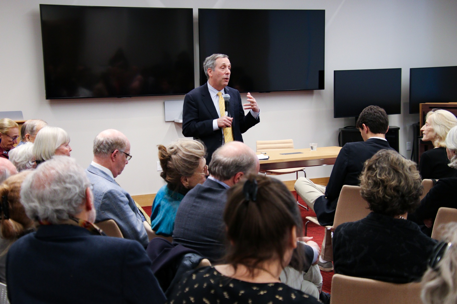 Following the protest, the Institute of Politics event was relocated to a Harvard Kennedy School classroom, where University President Lawrence S. Bacow responded to audience questions about the role of higher education in creating economic opportunity.