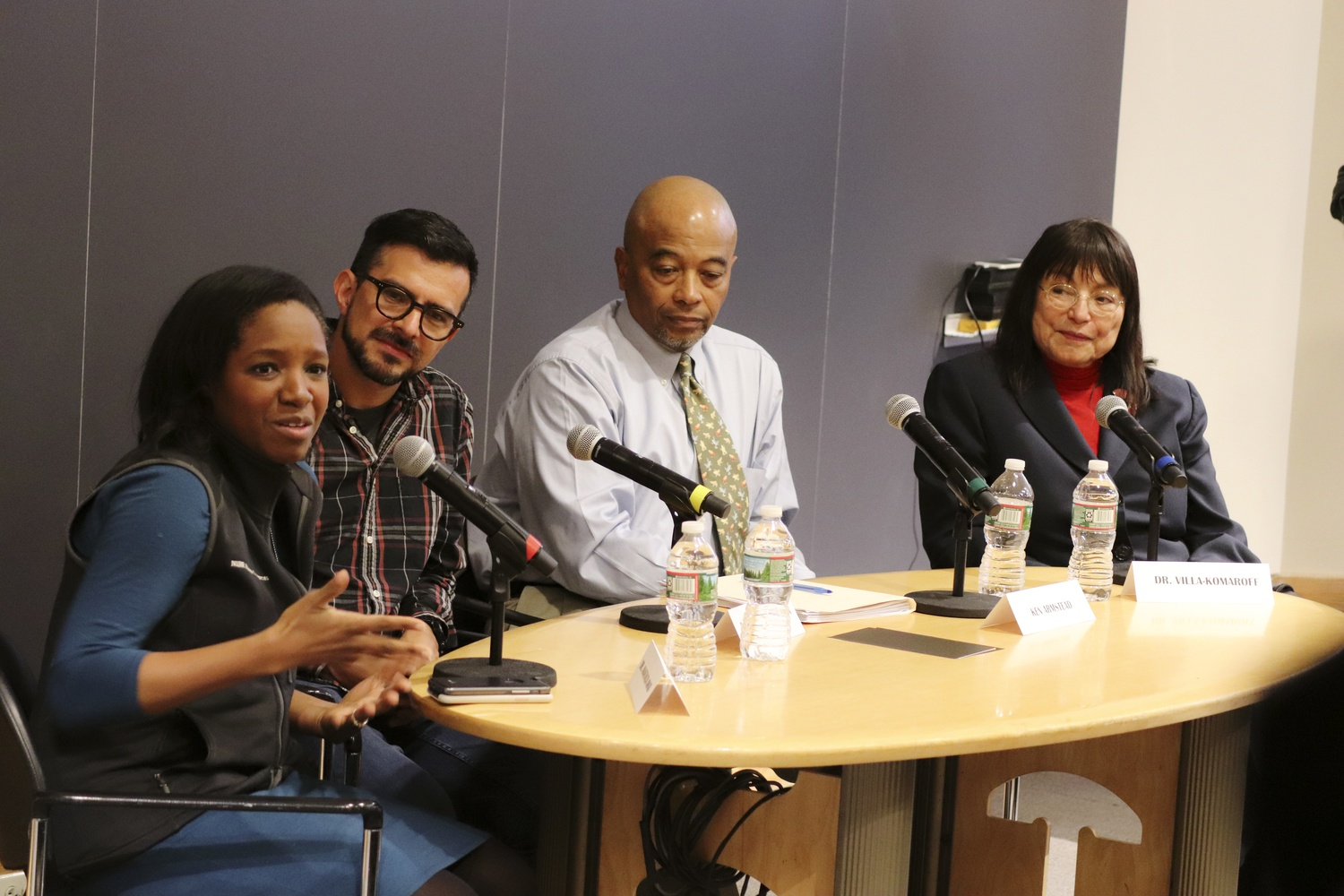 """Anastacia Awad, Ruben Lozano-Aguilera, Ken Armstead and Lydia Villa-Komaroff speak about their experiences in STEM fields during an event titled """"I'll Make Me a World: Voices for Diversity in STEM""""  Thursday afternoon in the Fong Auditorium."""