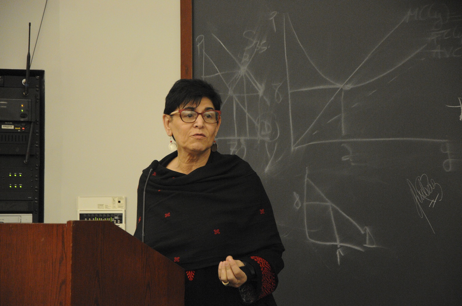 San Francisco State University professor Rabab Abdulhadi speaks at an Israeli Apartheid Week event on April 4.