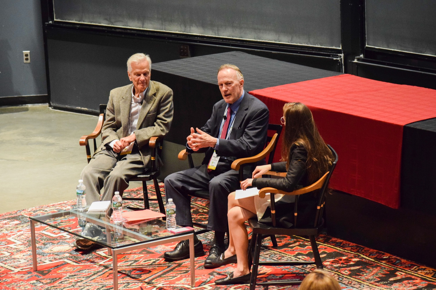 Dean of Admissions and Financial Aid William R. Fitzsimmons '67 speaks alongside Jorge Paulo Lemann and Larissa Marahão Rocha '17 at the annual Brazil Conference on Saturday.