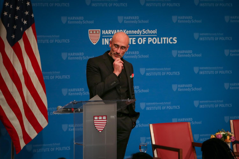 American Enterprise Institute President Arthur C. Brooks spoke with University Professor Danielle S. Allen at the IOP on Wednesday evening.