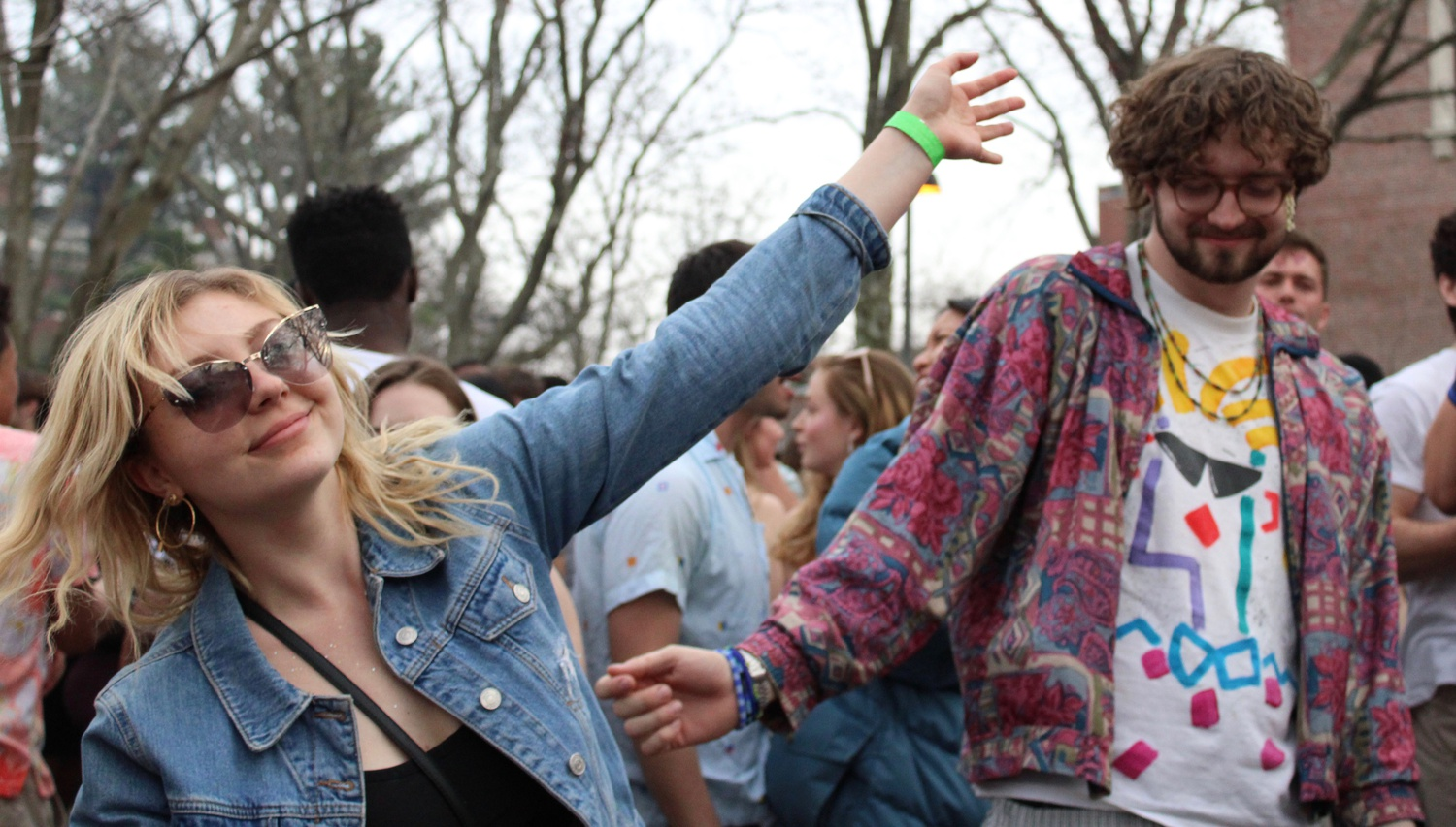 Students dance during the last in-person version of Yardfest, held in Harvard Yard in 2019. This year's version, headlined by Aminé and Trevor Daniel, took place virtually.