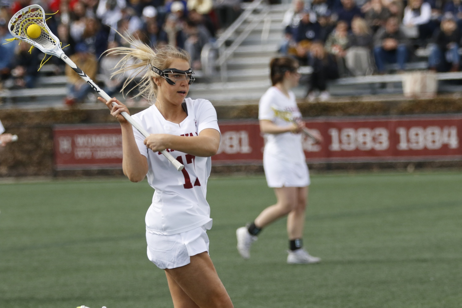 To date, junior Hannah Keating has tallied 40 goals in her Crimson career.
