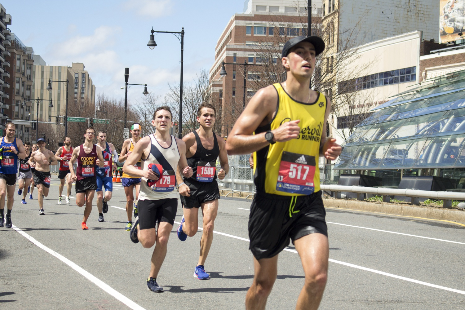 Early Boston Marathon runners faced good weather on Monday morning.