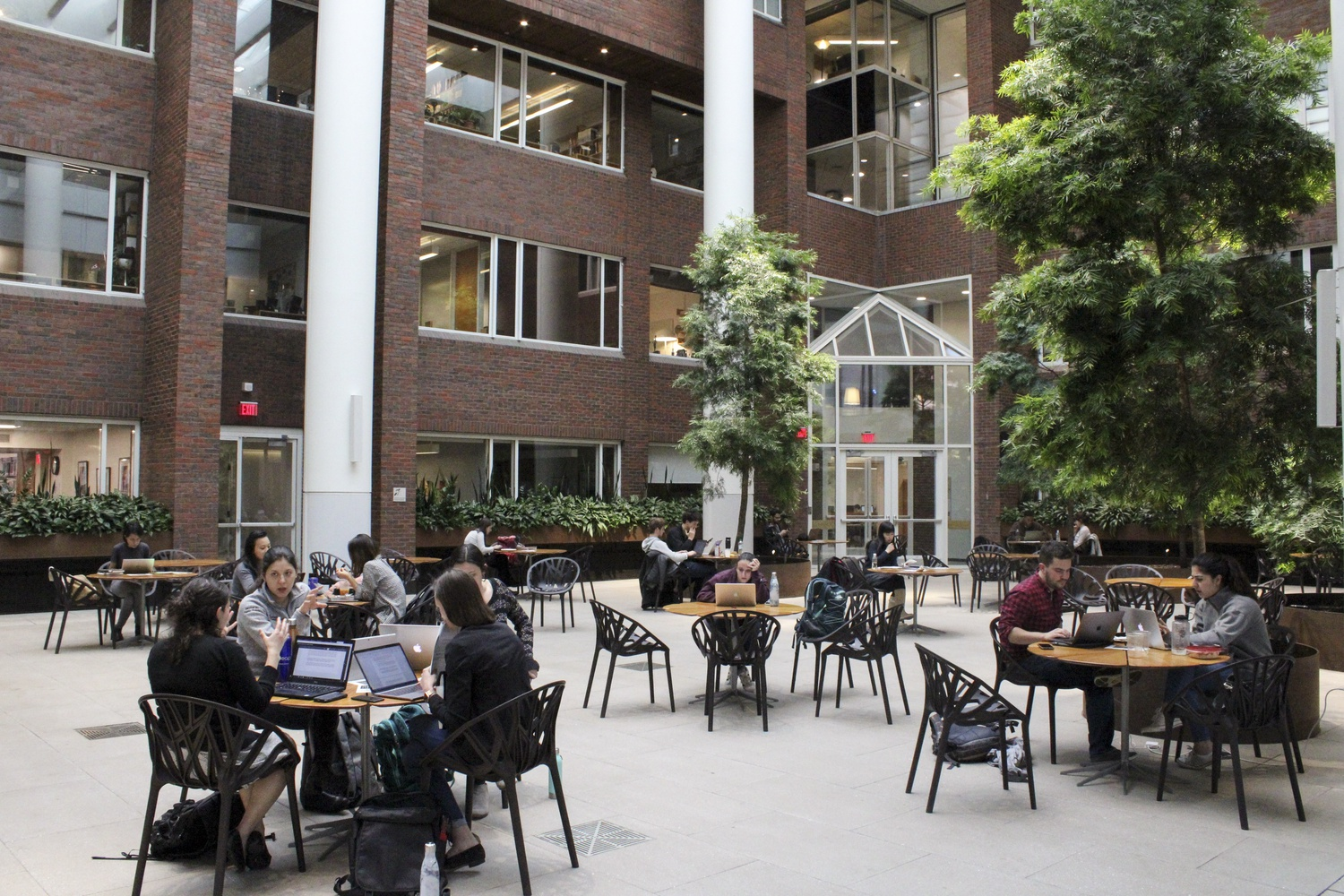 Students work inside the renovated Littauer Building of the Harvard Kennedy School.
