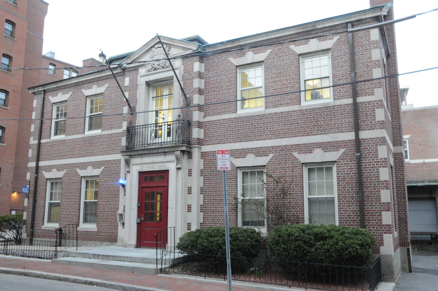 The Harvard Crimson's staff works at 14 Plympton St., between Grolier Poetry and Adams House.