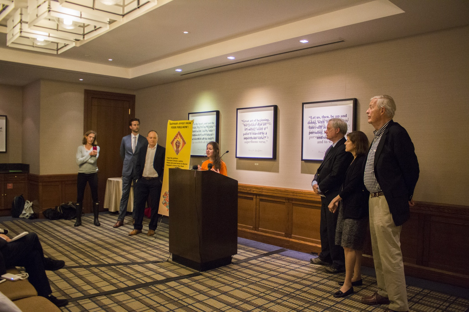 A series of speakers took the mic at the Divest Harvard press conference kicking off Heat Week Monday. Divest Harvard member Ilana Cohen '22, was joined by speakers including Harvard professors, a former U.S. Senator, and a descendent of John D. Rockefeller.