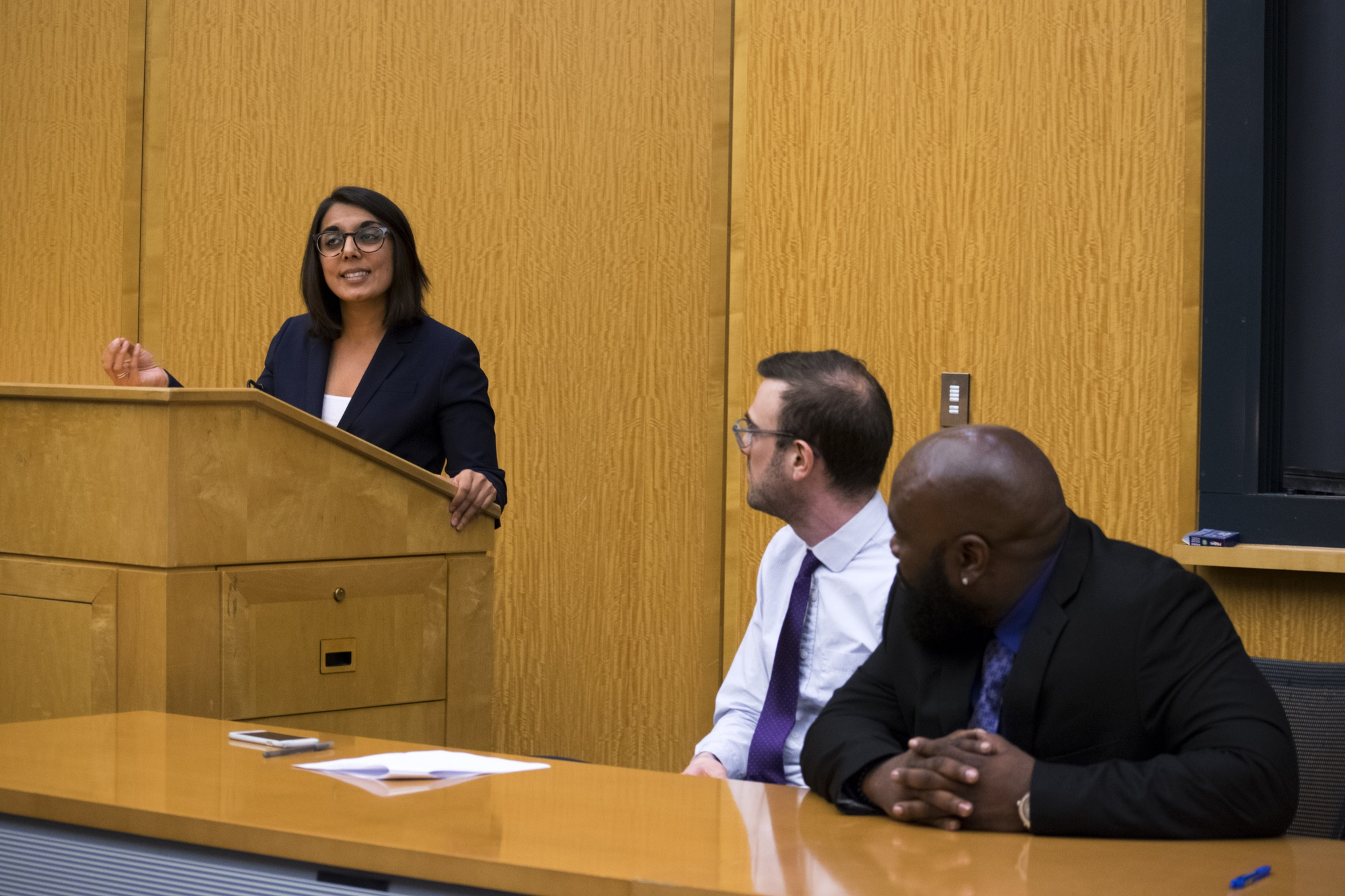 Aditi Goel, a clinical instructor at the Harvard Law School Criminal Justice Institute, spoke about combatting wrongful convictions at a panel event on Monday night.