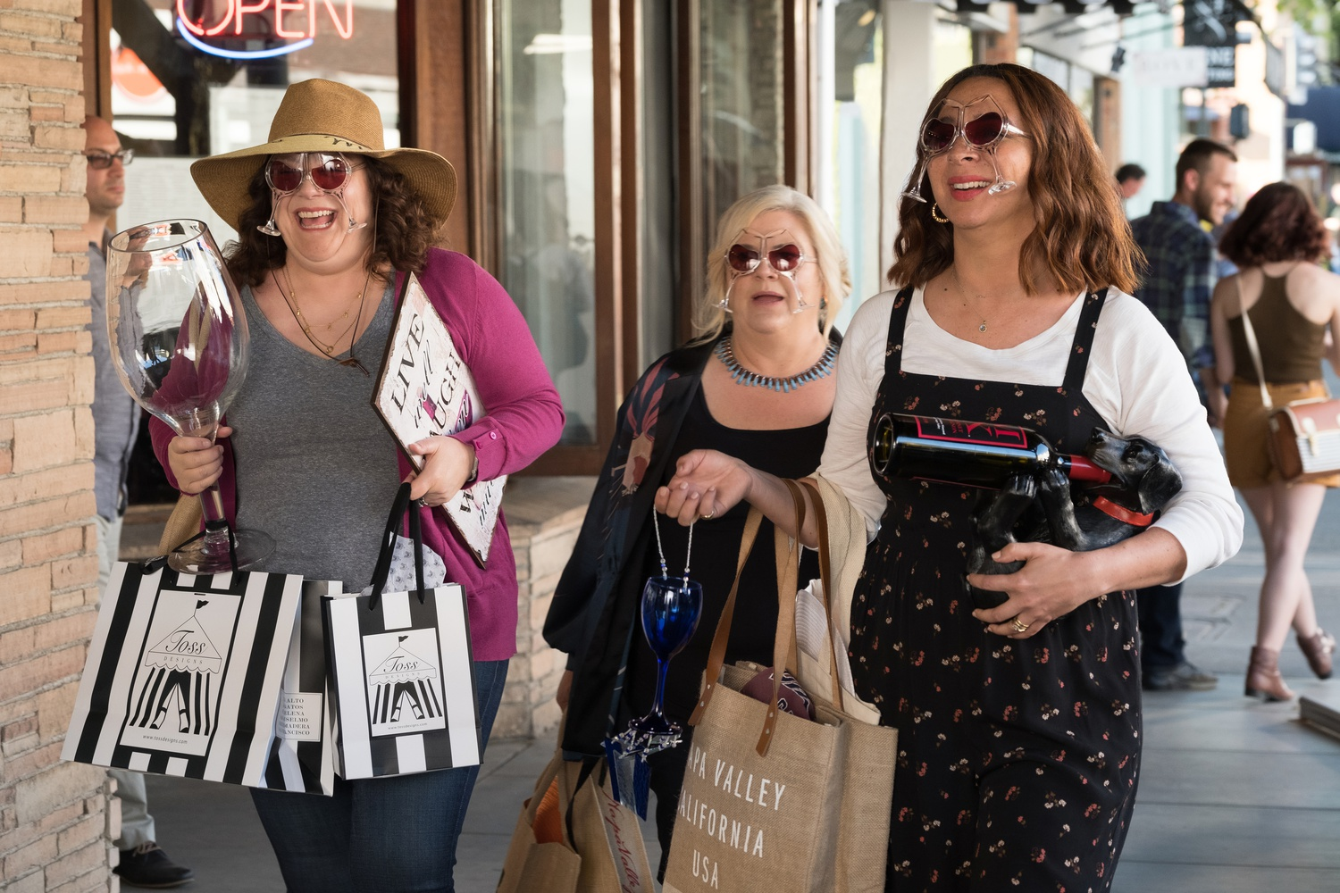 "Emily Spivey (left), Paula Pell (center), and Maya Rudolph (right) star in ""Wine Country"" (2019), directed by Amy Poehler."