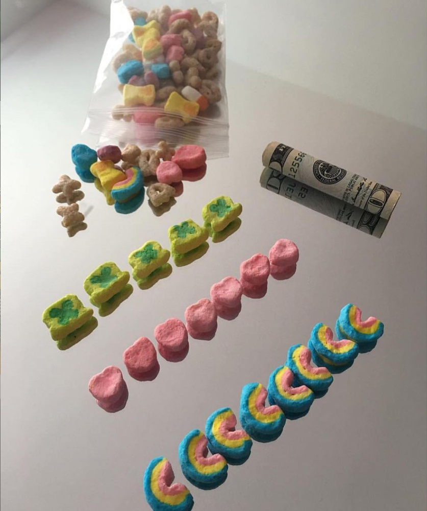 A @liljupiterr post from April 25th features lines of Lucky Charms marshmallows.