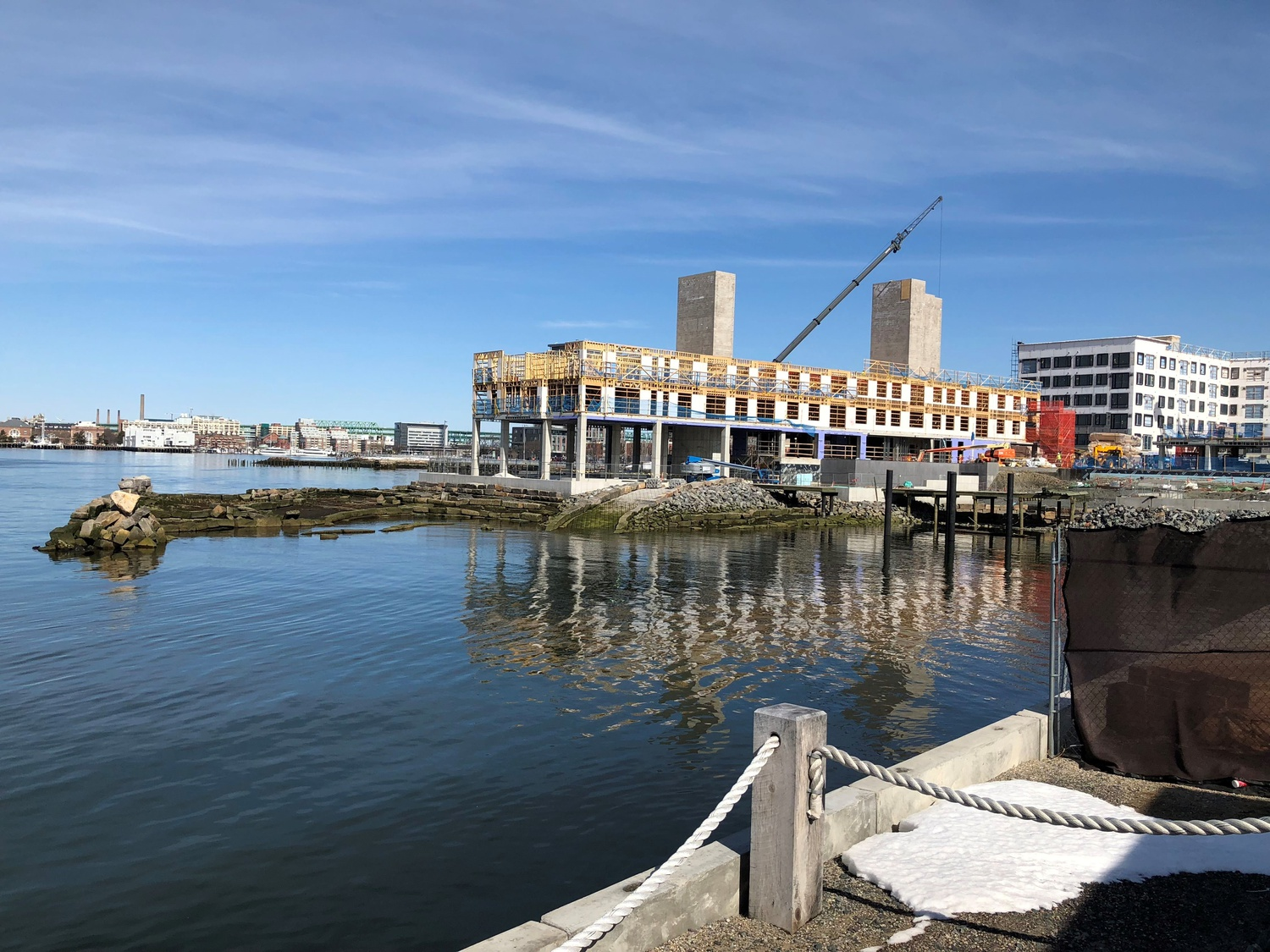The Clippership Wharf, a project that transformed an underutilized section of East Boston, was under construction in March 2018.