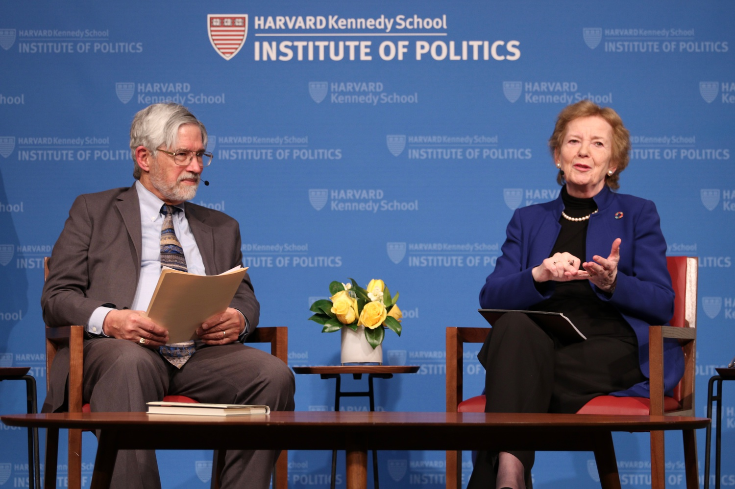 Mary Robinson, former President of Ireland, and Professor John Holdren, who teaches environmental policy at the Kennedy School, discuss climate justice during an IOP forum event Tuesday evening.