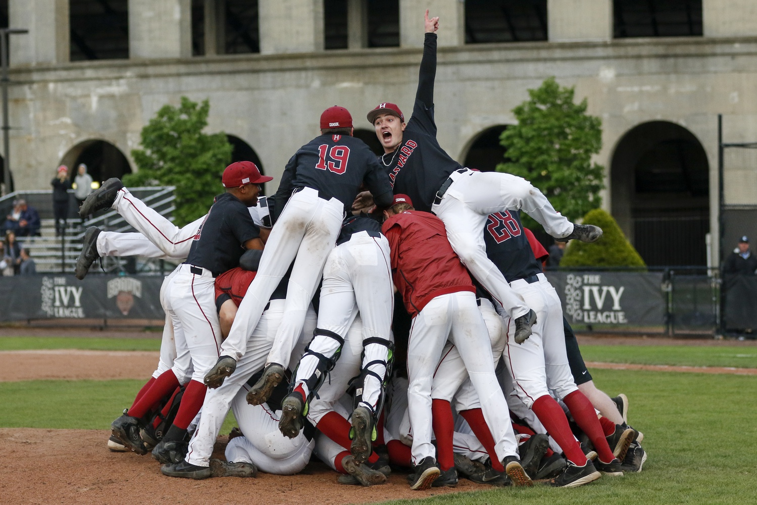 The Crimson celebrate its first berth to the NCAA Tournament since 2005.