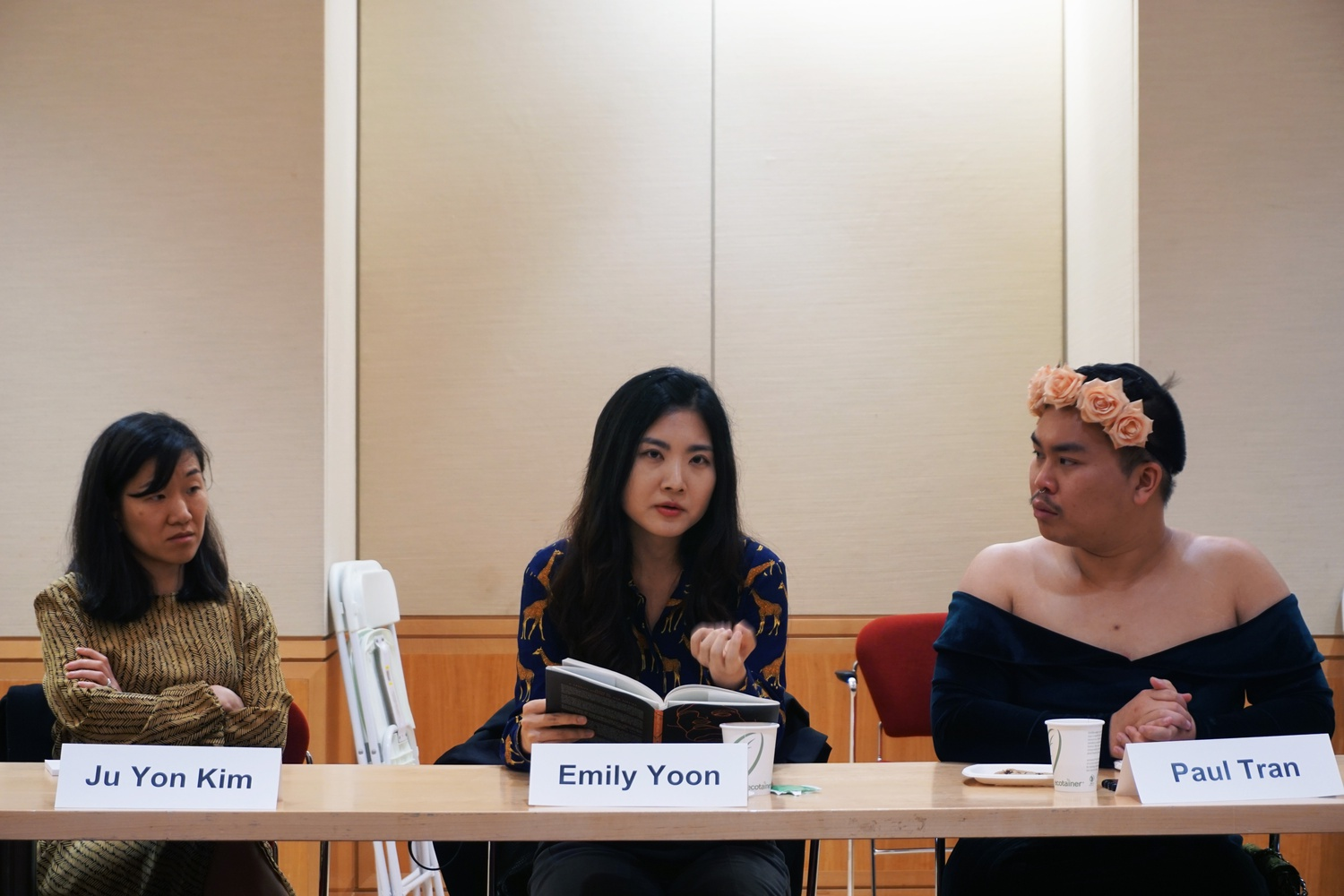 Professor Ju Yon Kim facilitated the event featuring poets Tamiko Beyer, Emily Yoon, and Paul Tran.