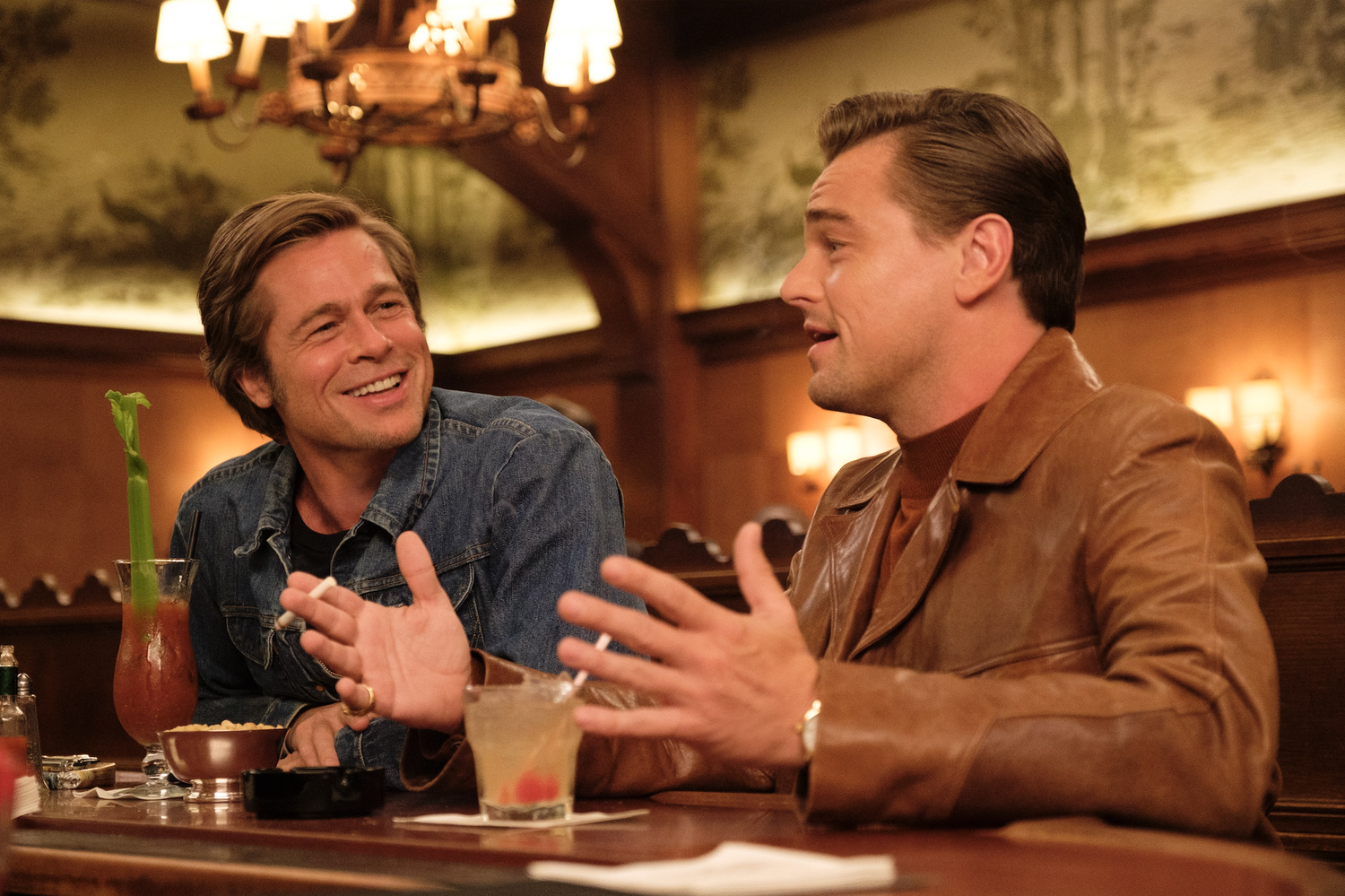 "Brad Pitt and Leonardo DiCaprio star in ""Once Upon a Time...in Hollywood."""