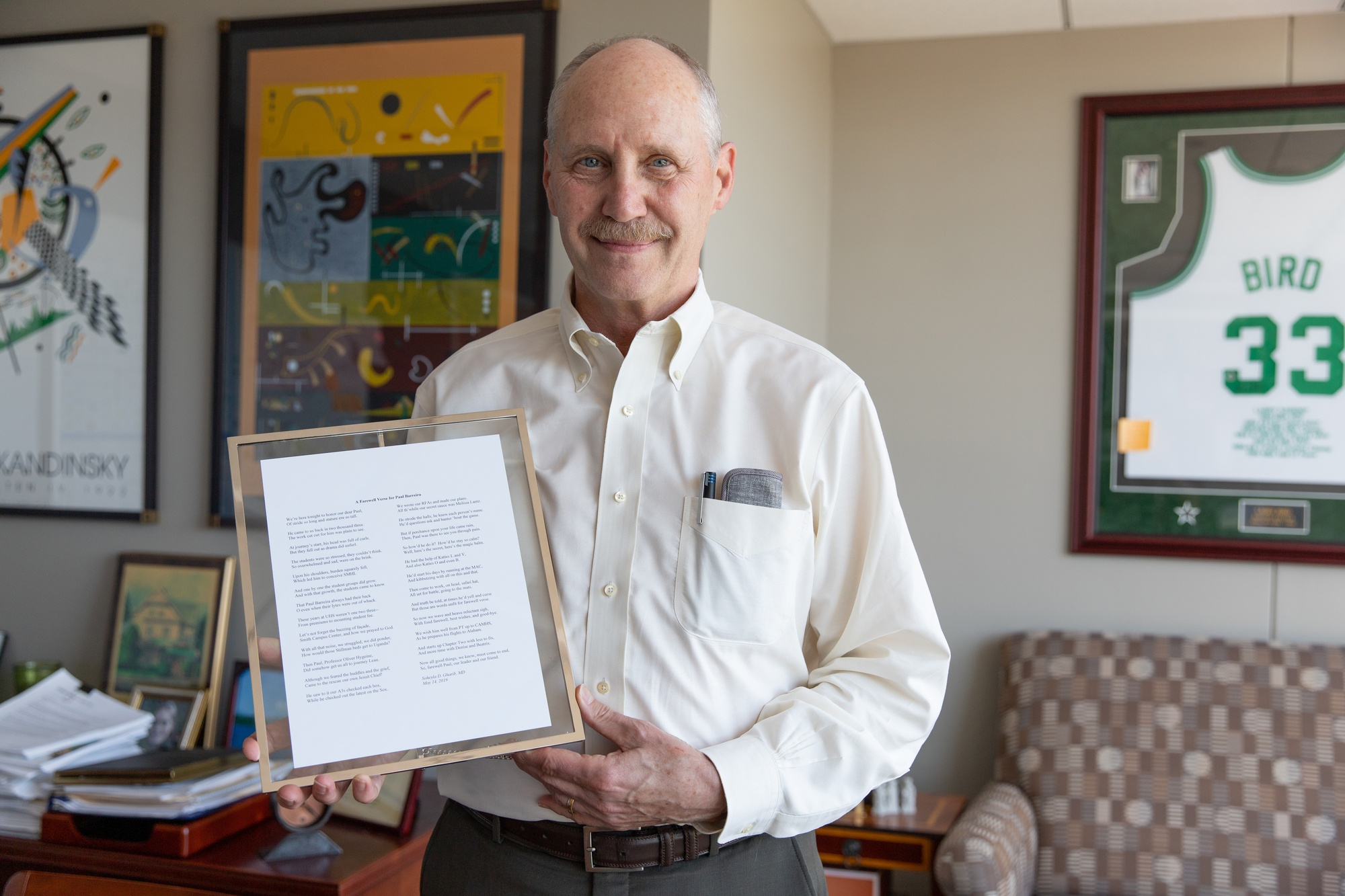 In January, HUHS Director Paul J. Barreira announced his plans to retire at the end of the academic year. Barreira poses with a farewell poem.