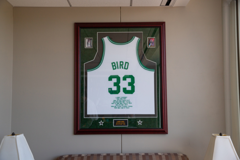 HUHS Director Paul J. Barreira's Larry Bird jersey.