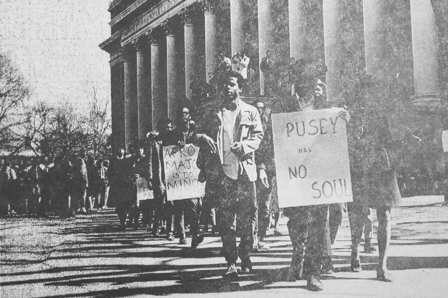 Student members of the Association of African and Afro-American Students joined the 1969 Students for a Democratic Society strike.