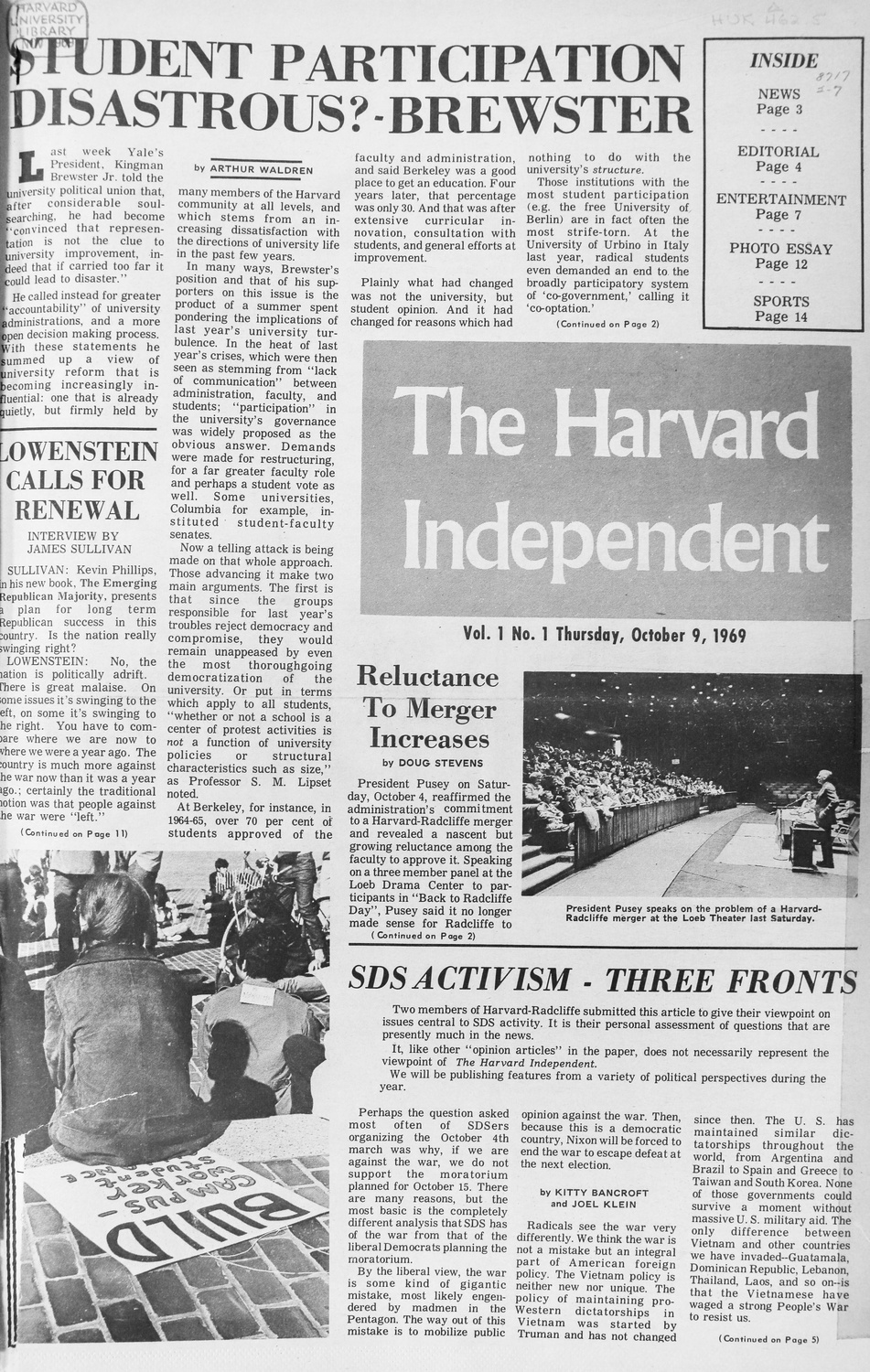 The first issue of the Harvard Independent, published in October 1969.