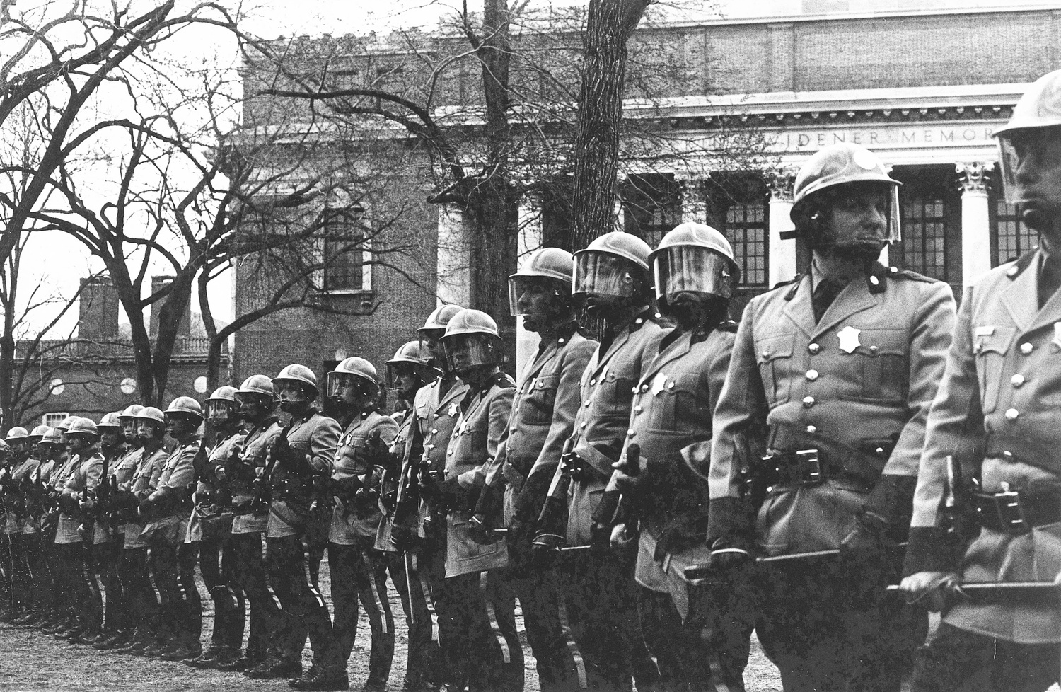 Police officers equipped with riot gear lined Tercentenary Theatre during the University Hall occupation in 1969.