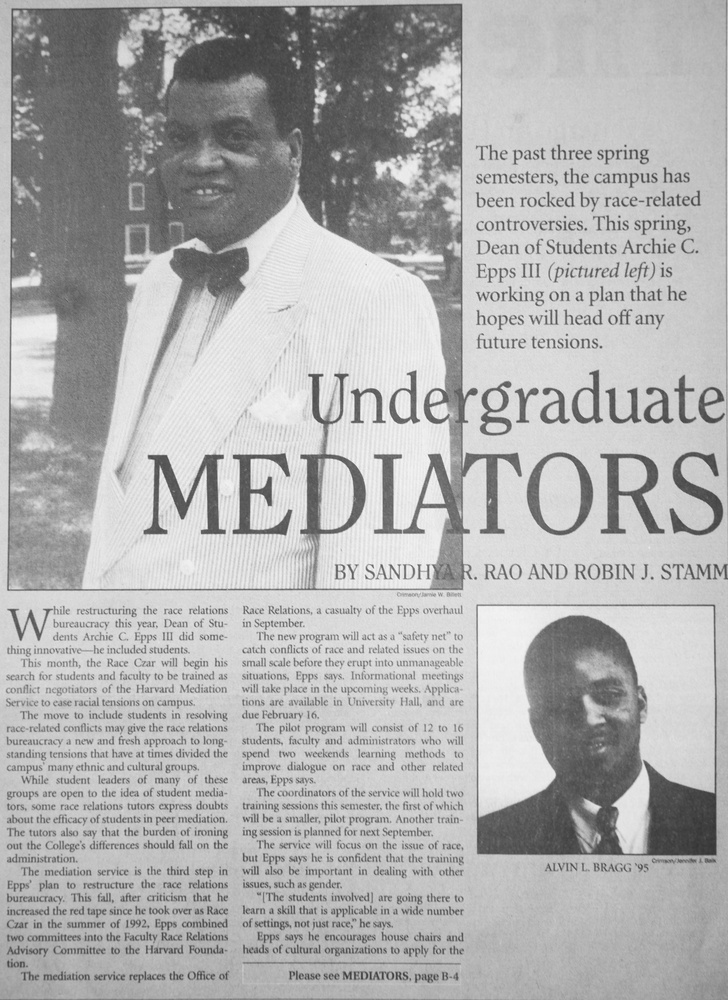 When racial tensions came to a head in 1994, Harvard introduced race mediators among students and faculty.