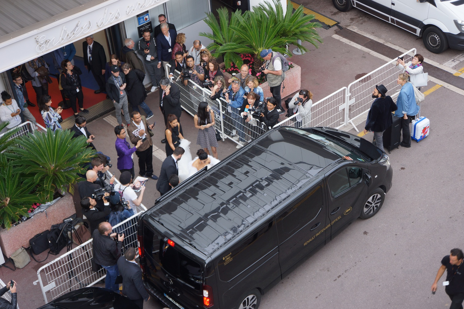Outside the Artists' Entrance at the Palais de Festivals in Cannes.