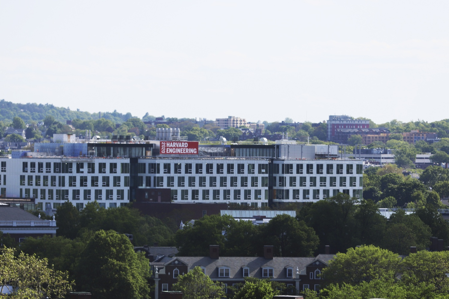 Harvard's new engineering and applied sciences campus in Allston, which is set to open in September 2020, is visible from the Cambridge side of the Charles River.