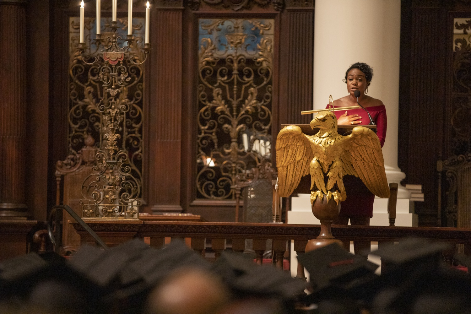 Keynote speaker, Tatyana Ali '02, spoke to students and their families in Memorial Church as part of the Black Commencement ceremony Tuesday evening.