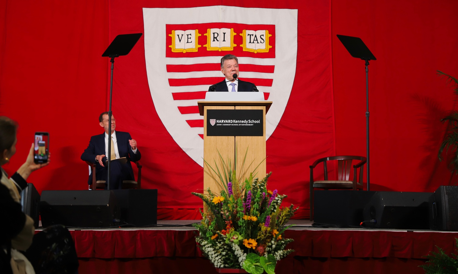 Juan Manuel Santos, former president of Colombia and Nobel Peace Prize laureate, gave advice to students during his graduation speech at the Harvard Kennedy School Wednesday afternoon.
