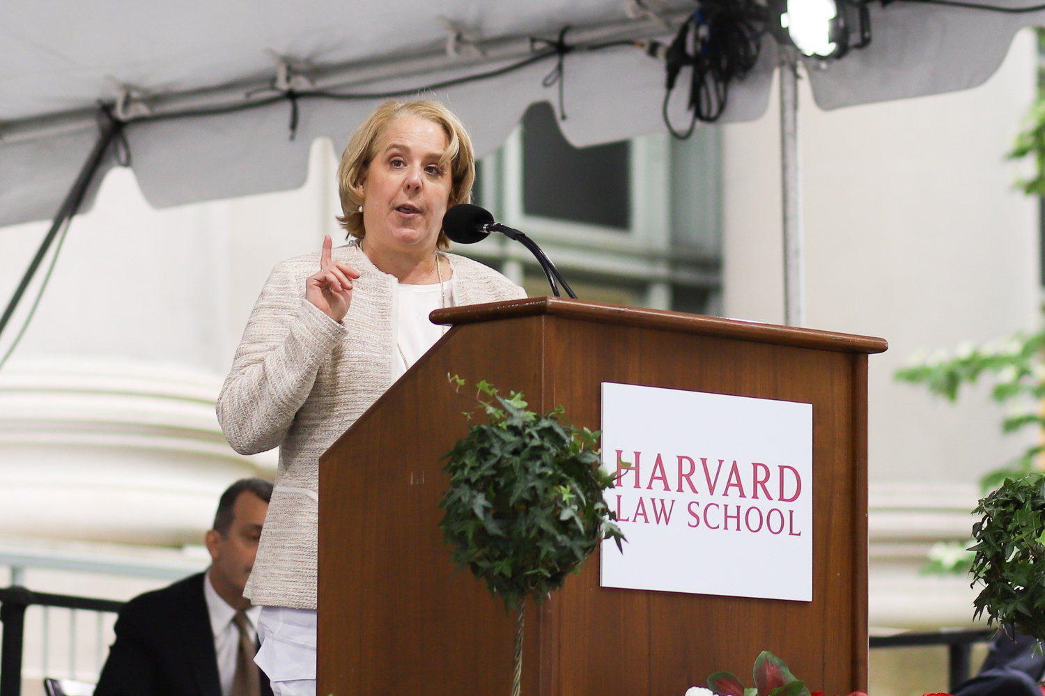 American lawyer Roberta A. Kaplan '88 spoke at Harvard Law School's Class Day event Wednesday. Kaplan led the push to convince the Supreme Court that the Defense of Marriage Act, which did not recognize same-sex marriage, was unconstitutional.