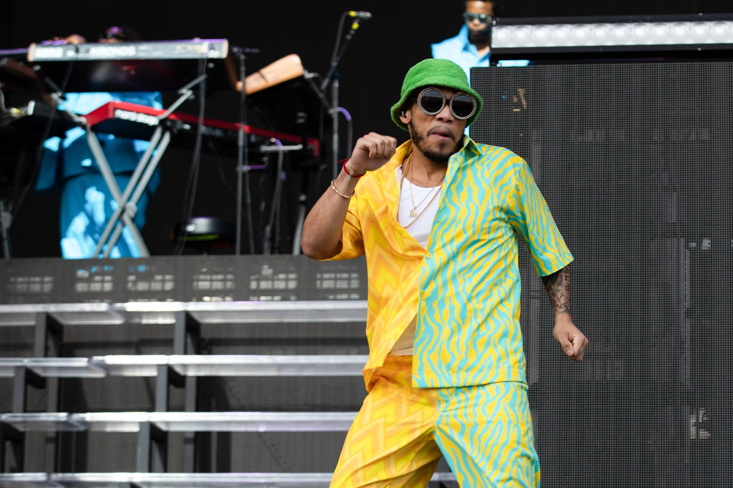 Anderson .Paak putting on a high energy set on the festival's Green Stage.