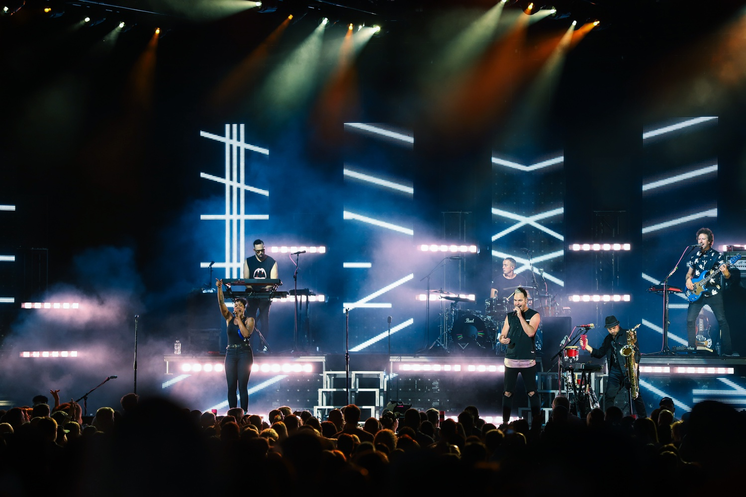 Indie pop band Fitz and the Tantrums co-headlined the Young the Giant concert at Rockland Trust Bank Pavilion in June.
