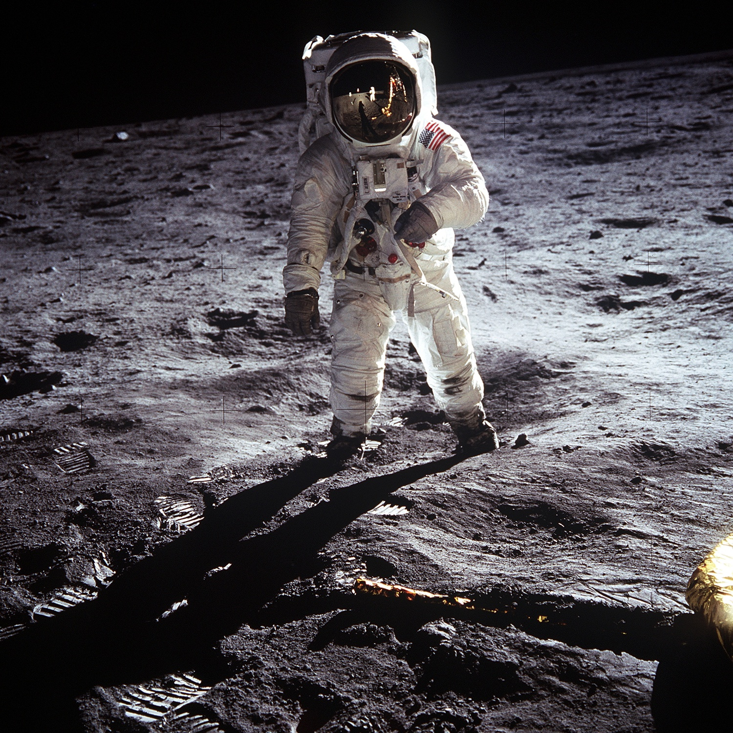 Astronaut Buzz Aldrin on the moon in 1969.