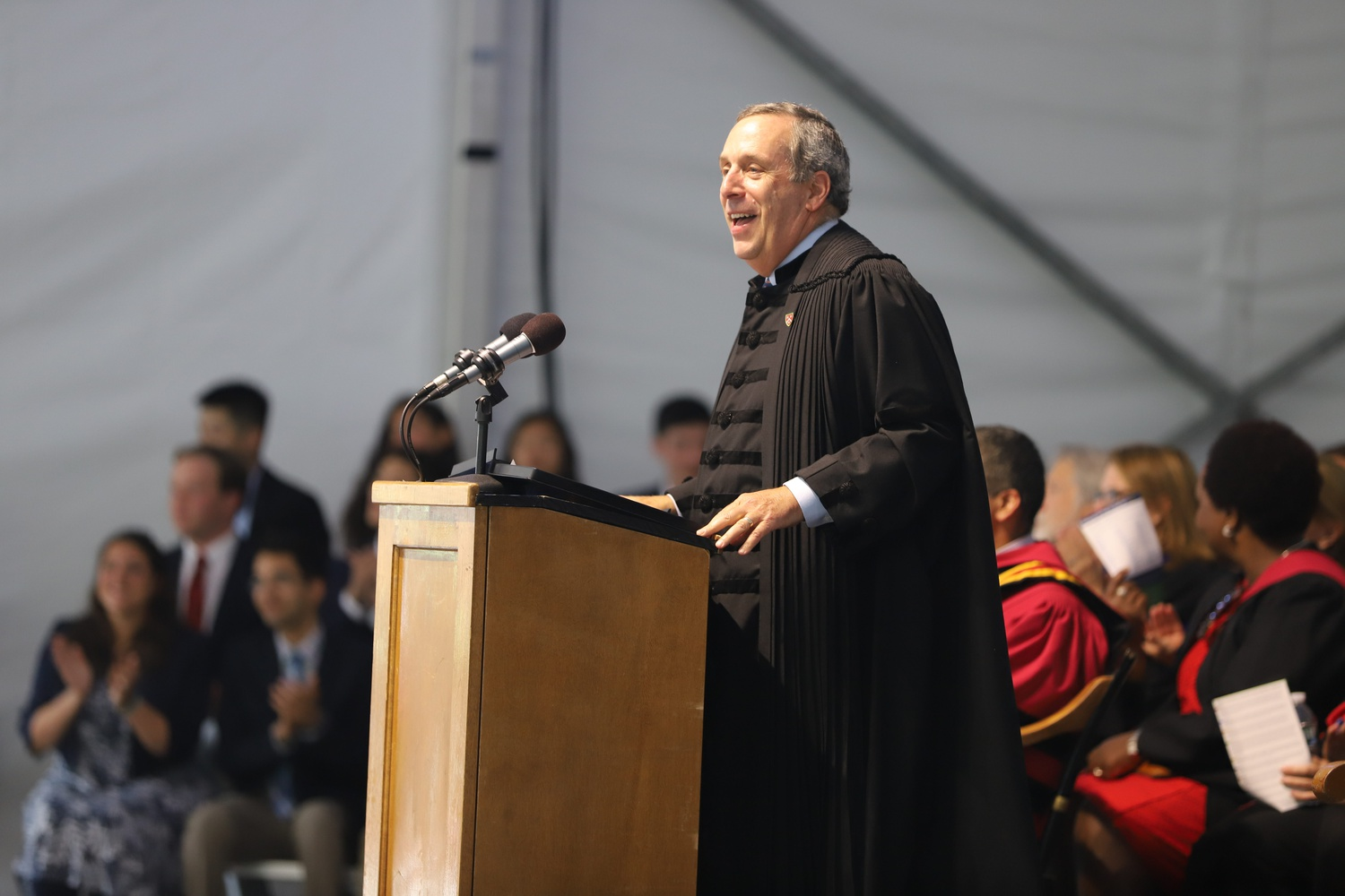 University President Lawrence S. Bacow speaks at the 2019 Freshman Convocation