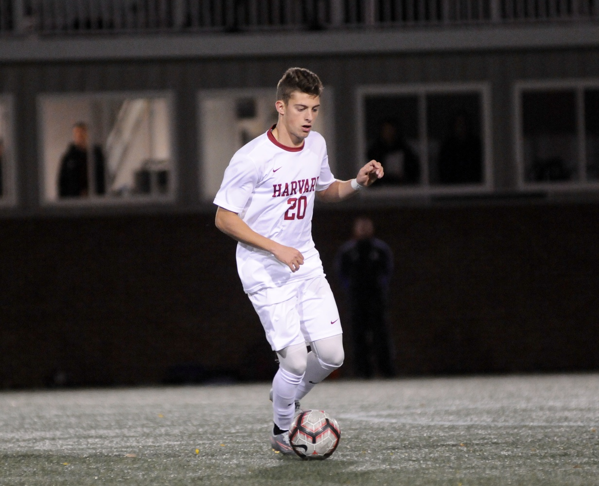Junior Fernando Docters dribbles carefully upfield in a previous contest. The third year aided the Crimson's first goal of the season this weekend in an assist to sophomore Alfred Perez against Vermont.